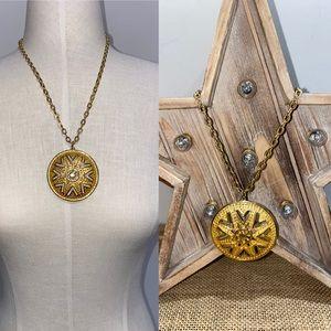 Vintage LISNER Round Gold Pendant Necklace